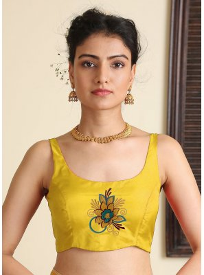 Embroidered Satin Silk Blouse in Yellow