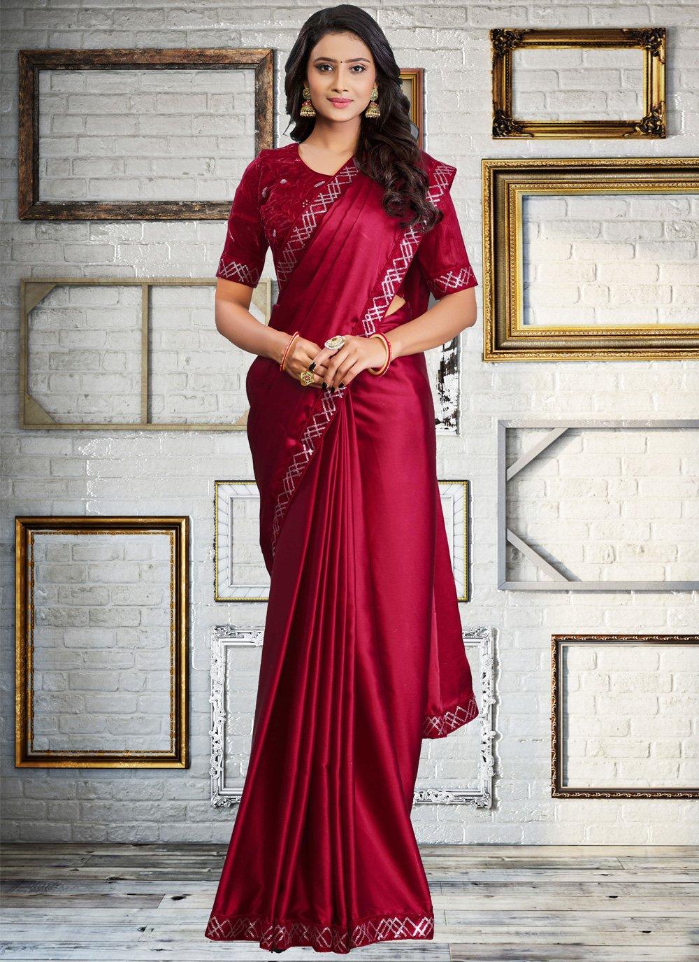 Embroidered Satin Silk Classic Designer Saree in Red