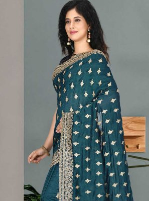 Embroidered Satin Silk Designer Traditional Saree in Rama