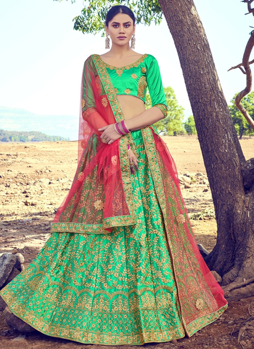 Embroidered Satin Silk Green A Line Lehenga Choli