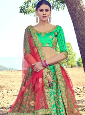 Embroidered Satin Silk Green A Line Lehenga Choli