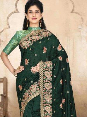 Embroidered Satin Silk Green Designer Traditional Saree