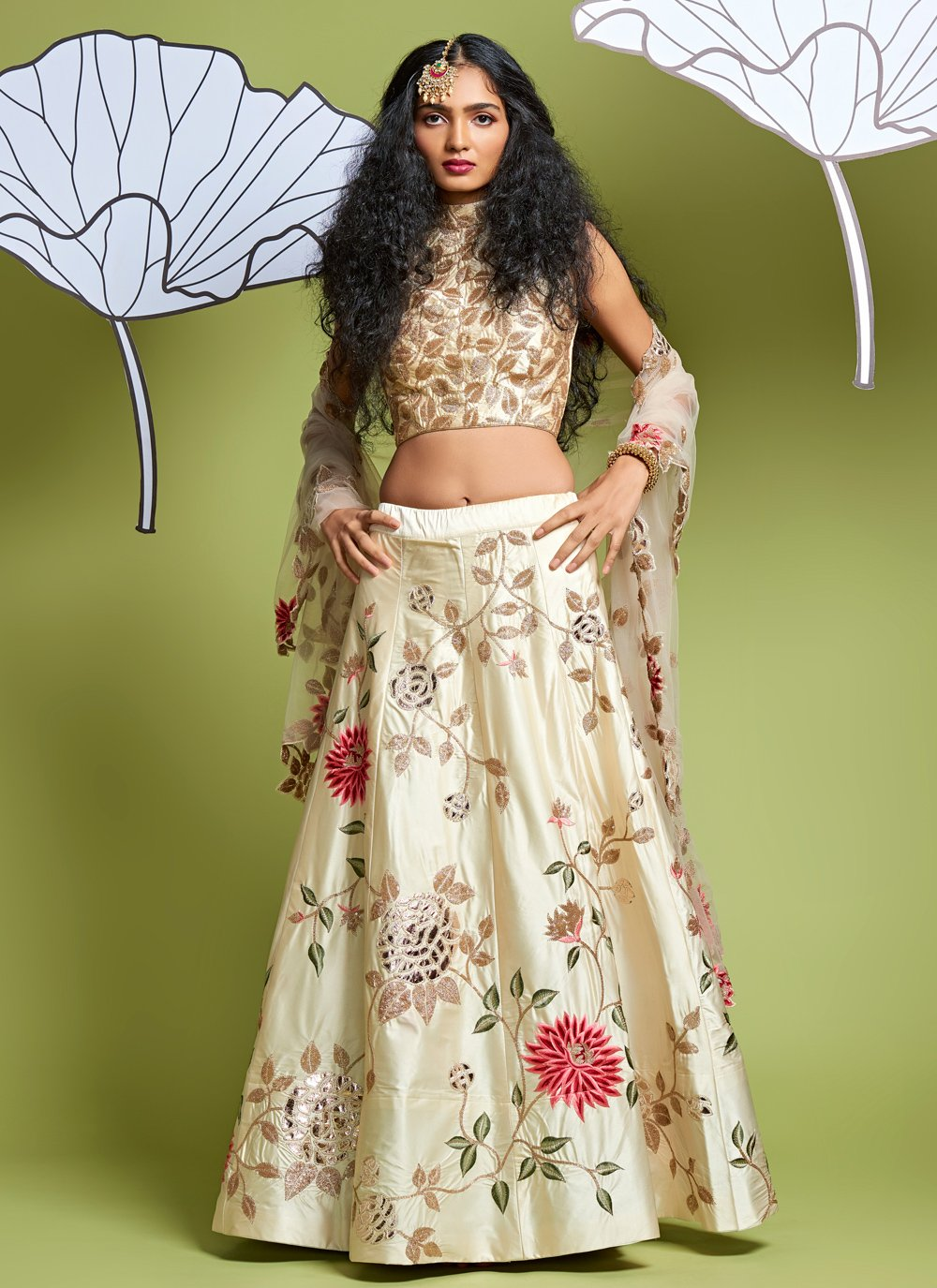 Embroidered Satin Silk Lehenga Choli