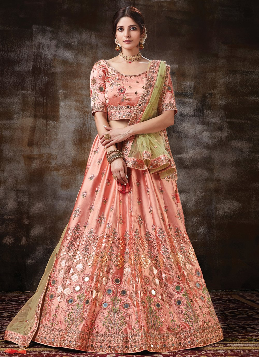 Embroidered Satin Silk Peach Lehenga Choli