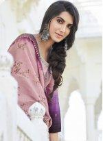 Embroidered Satin Silk Purple Designer Palazzo Suit