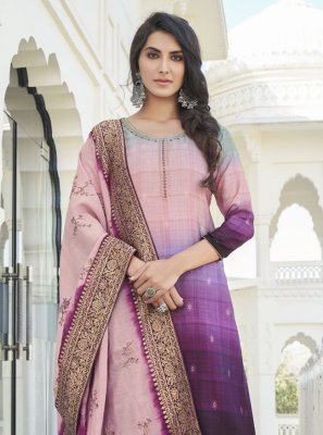 Embroidered Satin Silk Purple Designer Palazzo Suit