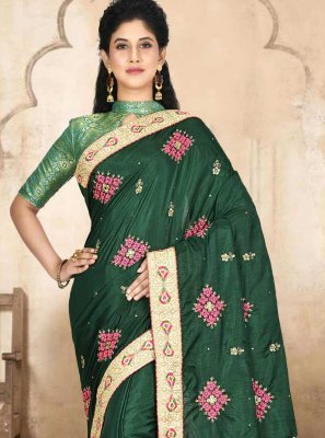 Embroidered Satin Silk Traditional Designer Saree