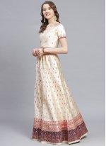Embroidered Satin Trendy Lehenga Choli in Cream