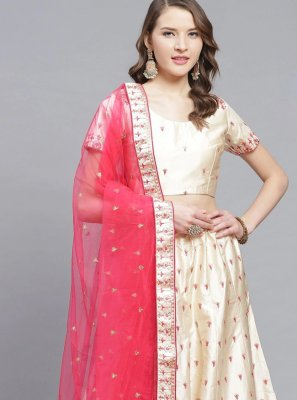 Embroidered Satin Trendy Lehenga Choli in Cream