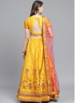 Embroidered Satin Yellow Trendy Lehenga Choli