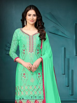 Embroidered Sea Green Cotton Churidar Suit