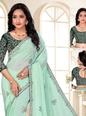 Embroidered Sea Green Designer Saree