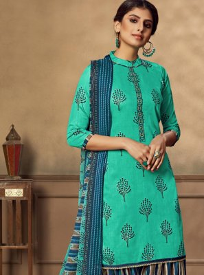 Embroidered Sea Green Fancy Fabric Designer Patiala Suit