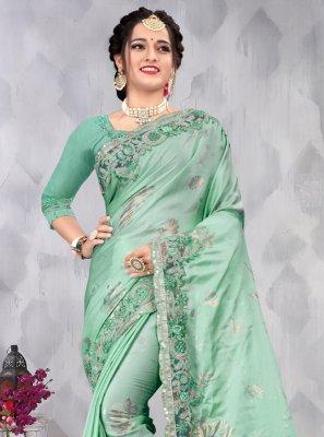 Embroidered Sea Green Satin Designer Saree