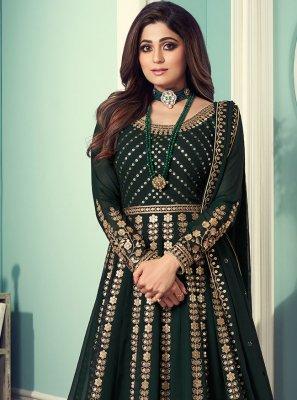 Embroidered Shamita Shetty Designer Floor Length Suit