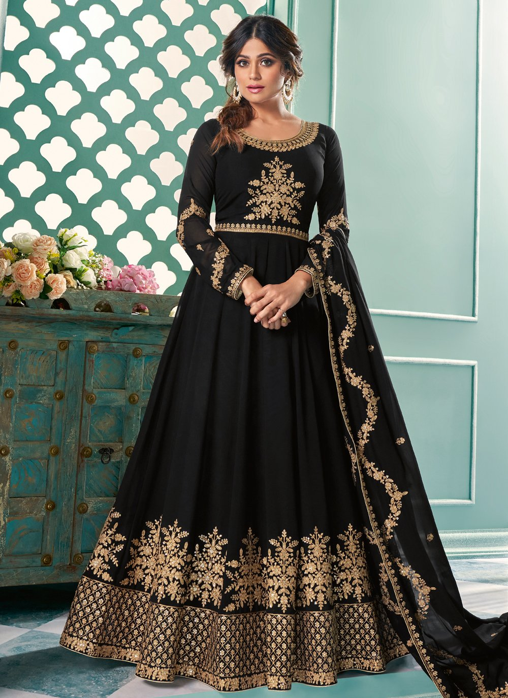 Embroidered Shamita Shetty Faux Georgette Floor Length Anarkali Suit