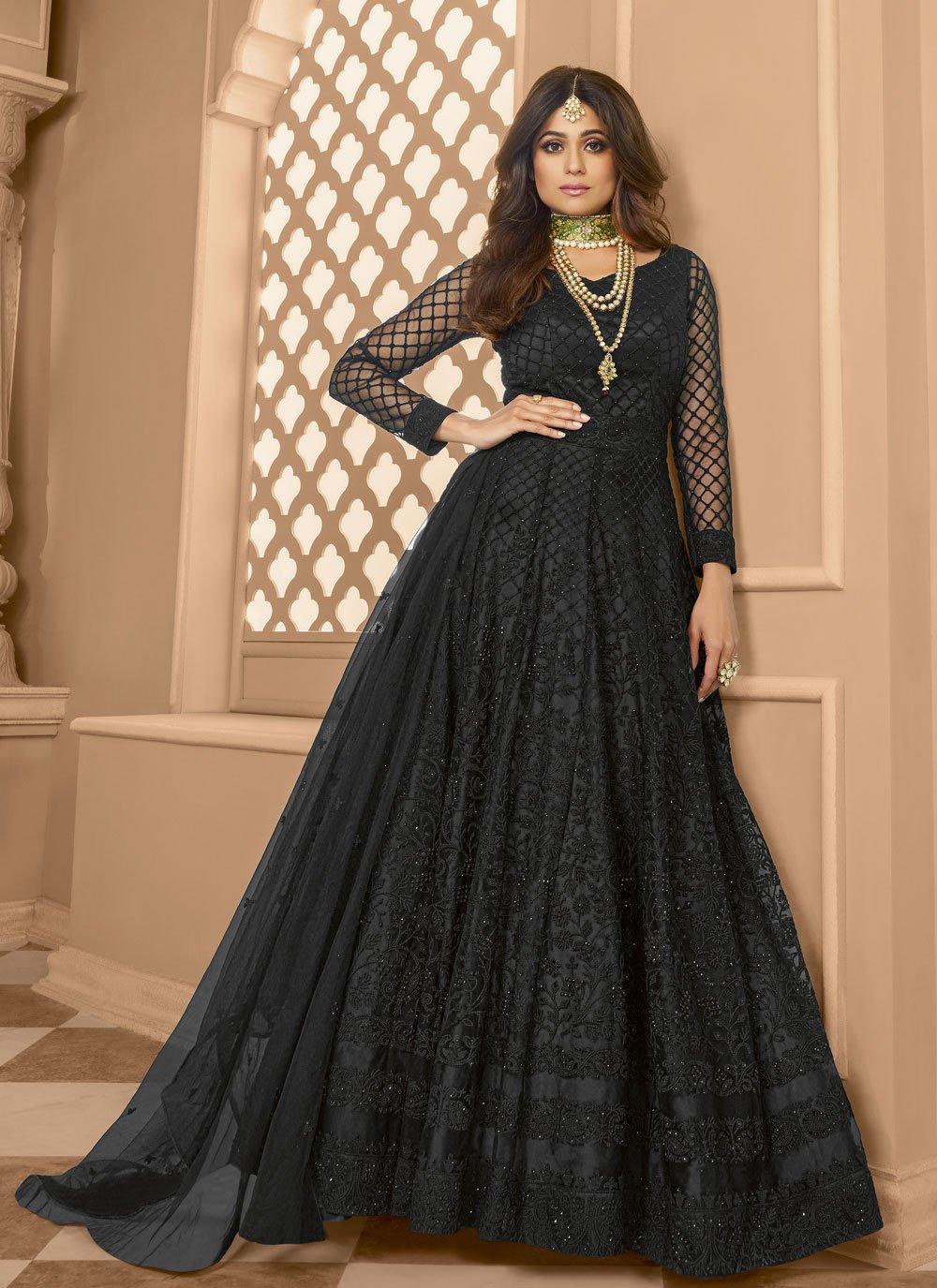 Embroidered Shamita Shetty Net Floor Length Anarkali Suit