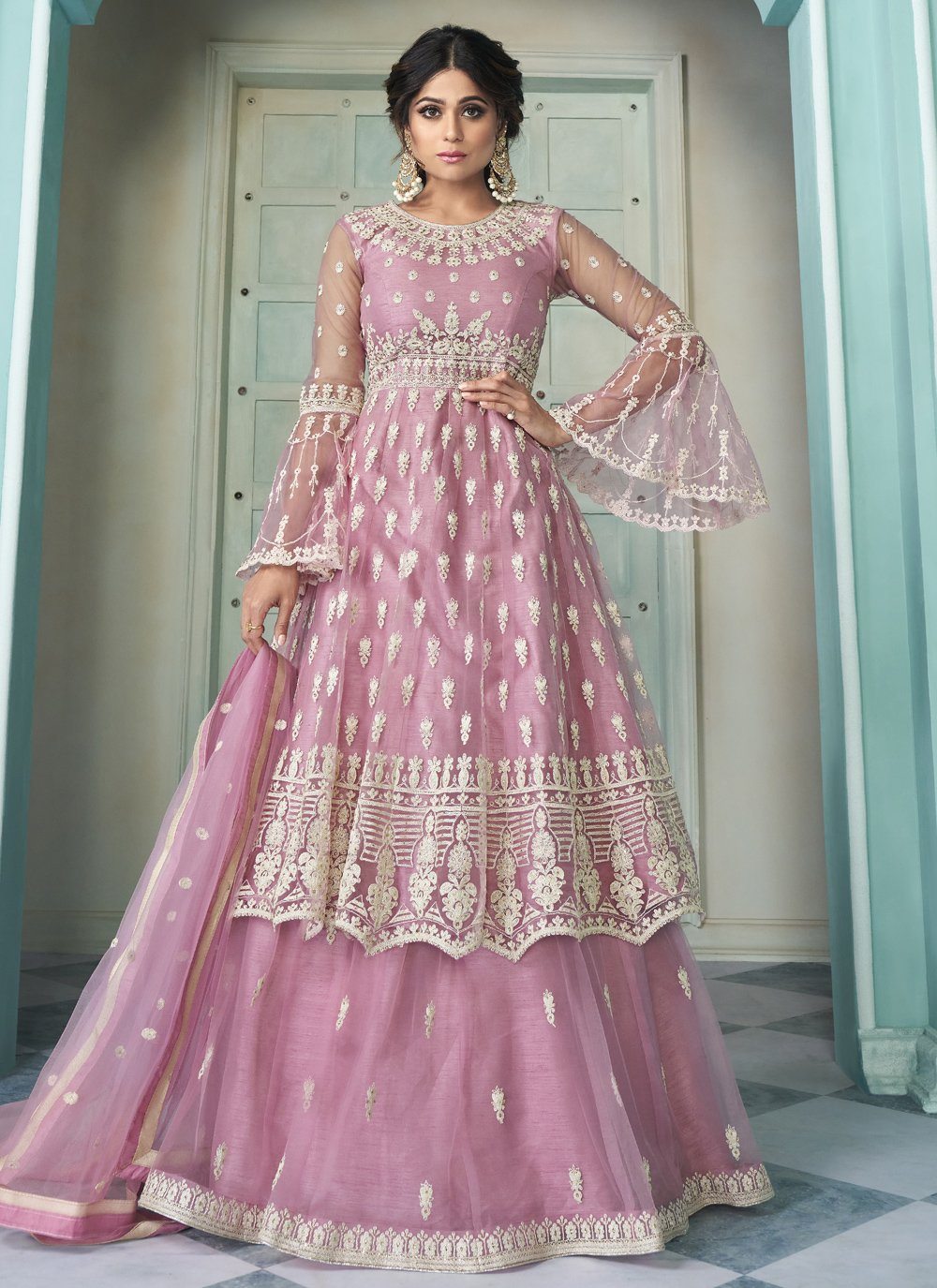 Embroidered Shamita Shetty Net Long Choli Lehenga