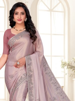 Embroidered Shimmer Designer Saree in Lavender
