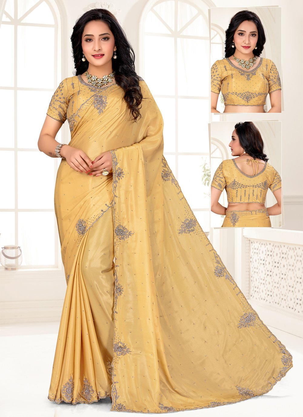 Embroidered Shimmer Yellow Designer Saree