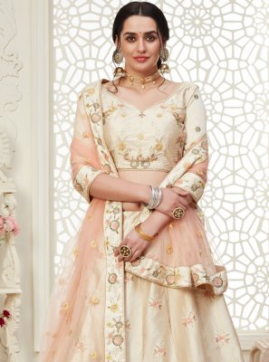 Embroidered Silk A Line Lehenga Choli in Cream