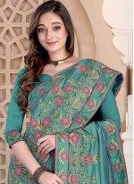 Embroidered Silk Aqua Blue Designer Saree
