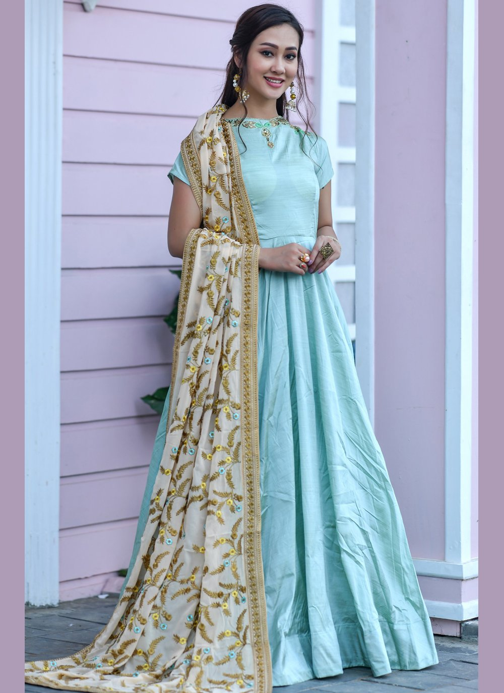 Embroidered Silk Blue Designer Floor Length Salwar Suit