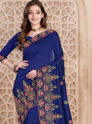 Embroidered Silk Blue Designer Saree