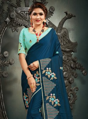 Embroidered Silk Blue Designer Saree