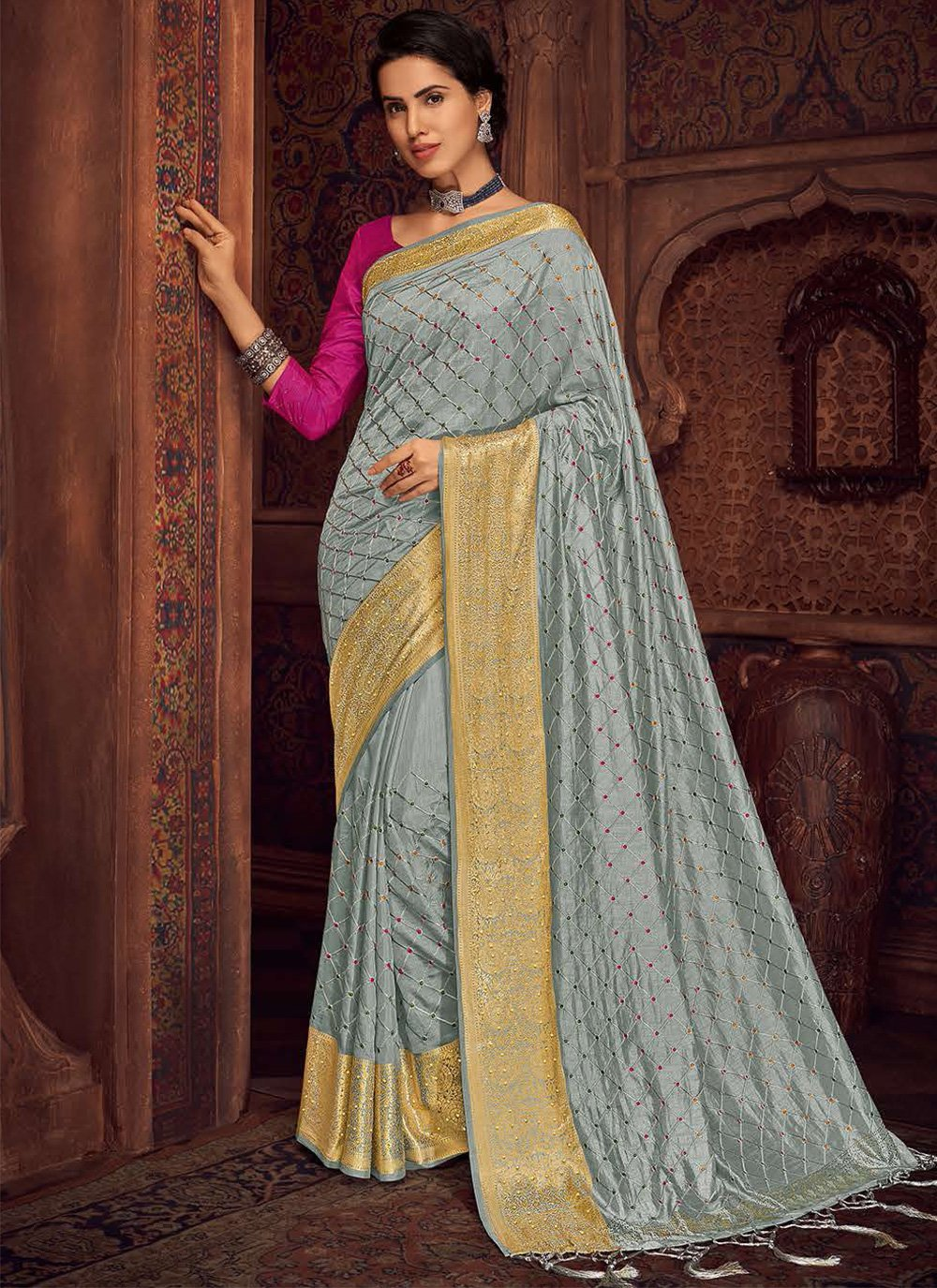 Embroidered Silk Bollywood Saree