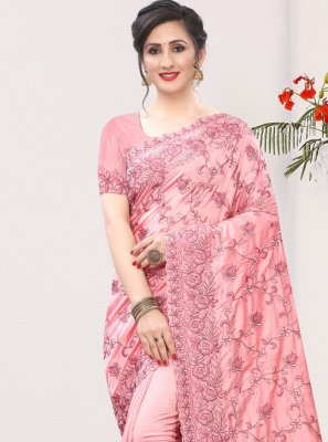 Embroidered Silk Bollywood Saree in Pink