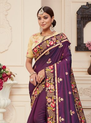 Embroidered Silk Classic Designer Saree in Wine