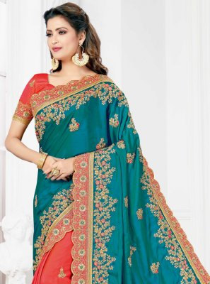 Embroidered Silk Designer Half N Half Saree