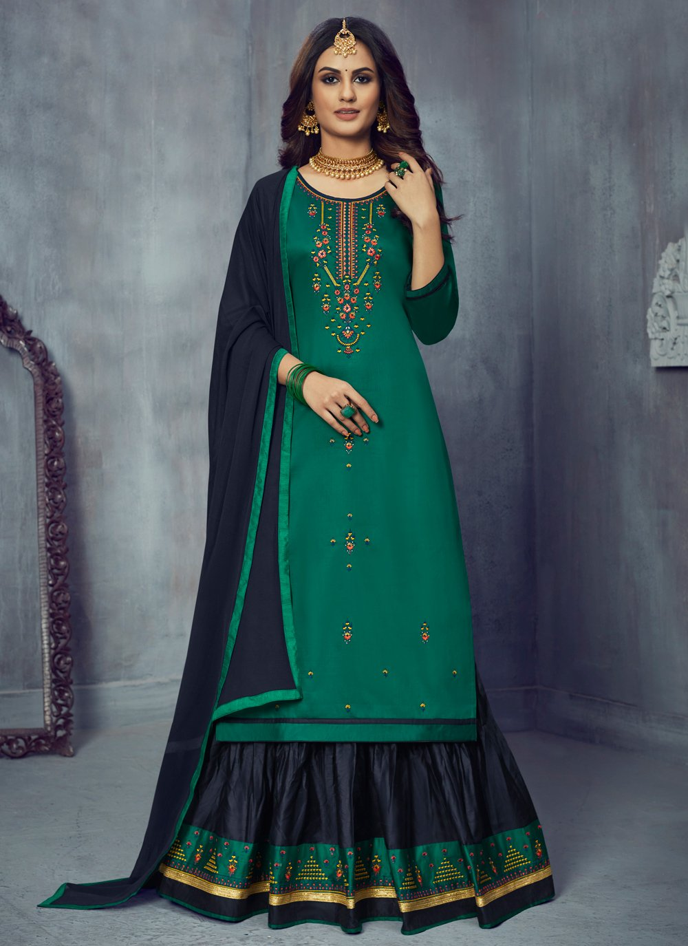 Embroidered Silk Designer Long Lehenga Choli