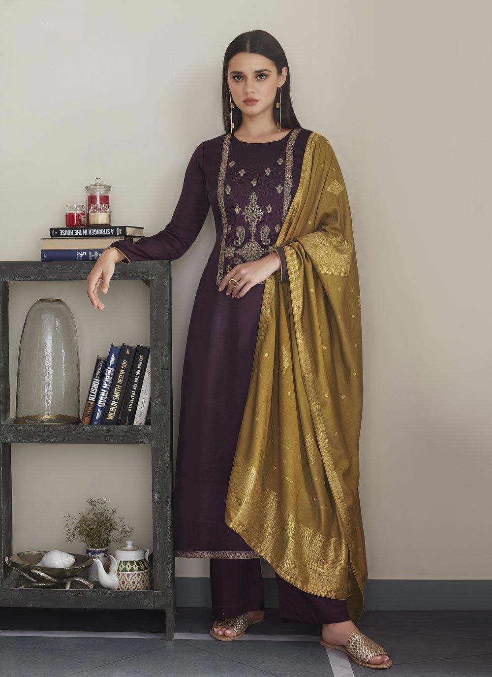 Embroidered Silk Designer Pakistani Suit in Purple
