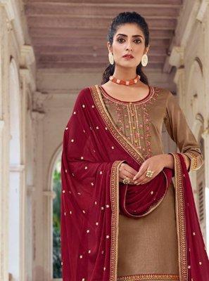 Embroidered Silk Designer Patiala Suit in Beige