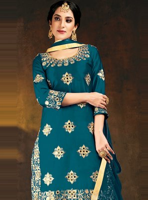 Embroidered Silk Designer Patiala Suit in Blue