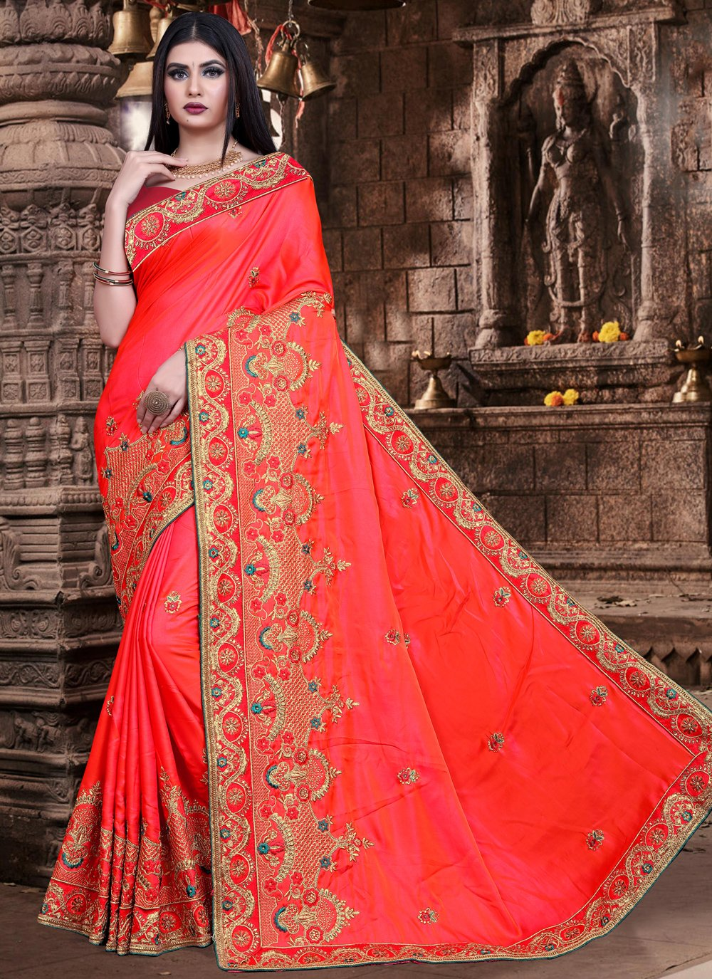 Embroidered Silk Designer Saree in Orange