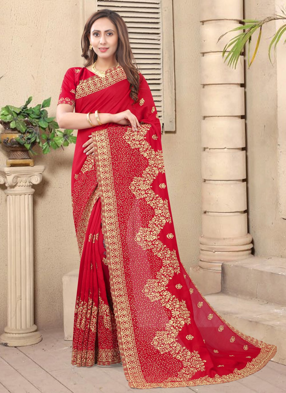 Embroidered Silk Designer Saree in Red