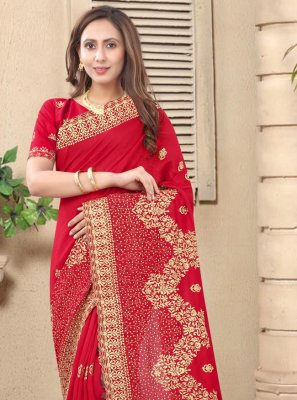 Embroidered Silk Designer Saree in Red