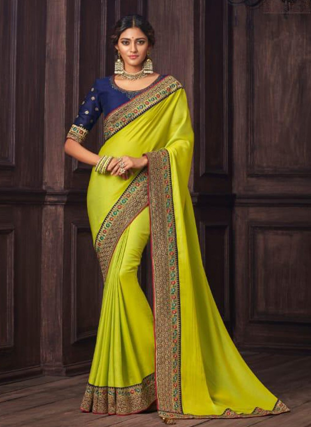 Embroidered Silk Designer Traditional Saree