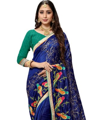 Embroidered Silk Designer Traditional Saree in Blue