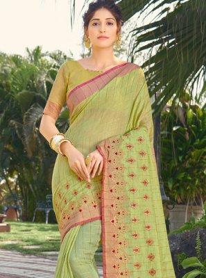 Embroidered Silk Green Traditional Designer Saree