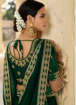 Embroidered Silk Green Traditional Saree
