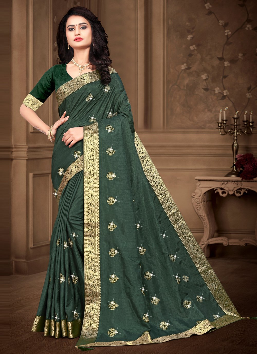 Embroidered Silk Green Trendy Saree