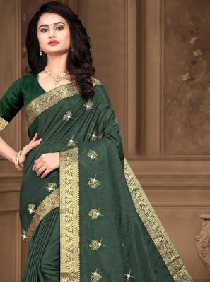 Embroidered Silk Green Trendy Saree