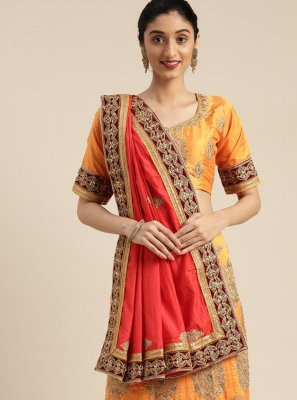 Embroidered Silk Mustard Traditional Saree