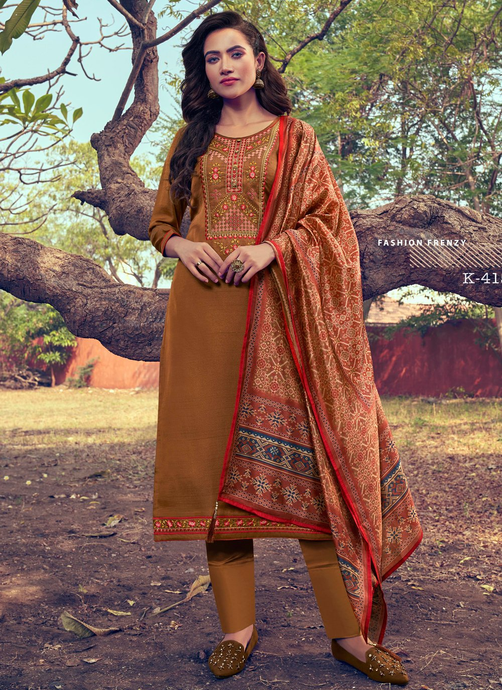 Embroidered Silk Pant Style Suit in Brown