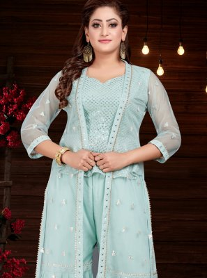 Embroidered Silk Party Wear Kurti in Firozi