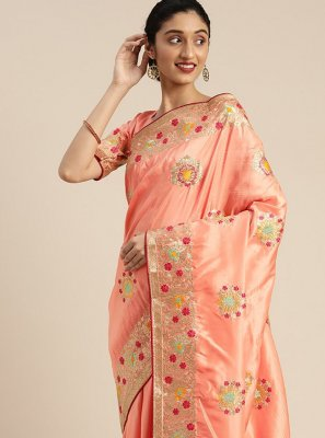 Embroidered Silk Peach Traditional Designer Saree